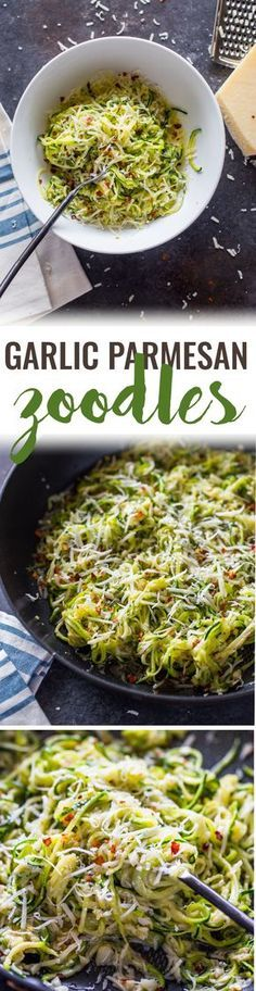 Garlic Parmesan Zoodles Ingredient, 10 min) made Very easy and quick side dish and was really good. Low Carb Recipes, Diet Recipes, Vegetarian Recipes, Cooking Recipes, Healthy Recipes, Vegetarian Tapas, Tapas Recipes, Pescatarian Recipes, Diabetic Recipes