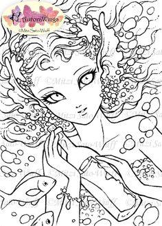 Digital Stamp Mermaid with Message in Bottle by AuroraWings
