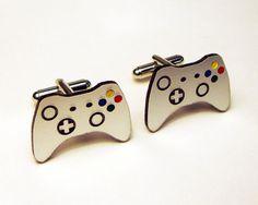 cuff link, gift ideas, silver cuff, groom gifts, box, game control, video games, cufflink, wedding gifts