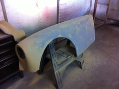 1960 MGA drivers side front wing in high build primer
