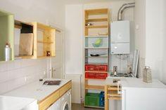 buche massivholz, gehobelt, birke multiplex, hpl beschichtung, tischlerarbeit, raumkonzept, interieur, design, ken isaacs, openstructures, waschmaschine, schubkästen, hängeschränke, hochschrank, küche