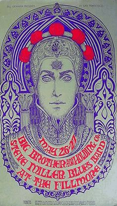 poster by Bonnie MacLean, 1967, Steve Miller Blues Band, Filmore auditorium.