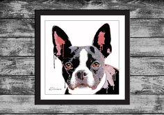 Boston Terrier Dog Pop Art Portrait by KirianGallery on Etsy