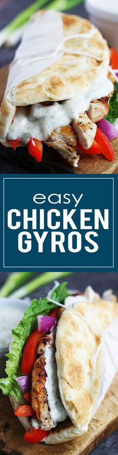 20 minute Easy Chicken Gyros with quick Tzatziki cucumber sauce are delicious, healthy, and flavorful. | lecremedelacrumb.com