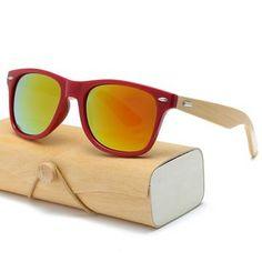 9eb8feb4e80 Retro Natural Wood Sunglasses Unisex square bamboo Mirror Sun Glasses  Handmade with case in an amazing 17 COLORS