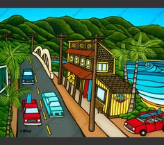 Surf art print by North Shore artist Heather Brown featuring popular Haleiwa surf shop Surf N Sea. Photography Studio Background, Photography Backdrops, Heather Brown Art, Surf Competition, Life Sketch, North Shore Oahu, Surf Decor, Hawaii Surf, Surf Art