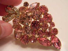 Vintage WEISS Pink Rhinestone Brooch