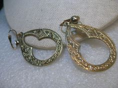 """Vintage Stamped Oval Hoop Earrings,  Clip, 1960's, Boho/Hippie Style, 2.25"""" #Unsigned #clipearrings"""