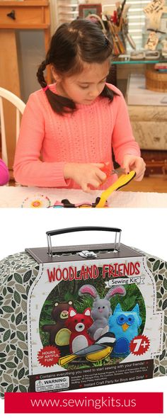 Looking for a fun Easter DIY craft project for your kids? This adorable woodland friends sewing kit offers hours of artful fun for girls & boys ages 7 to 12 years old. SHOP http://sewingkits.myshopify.com/products/woodland-friends-craft-kit  | Easy DIY Kids Sewing Crafts Kits | Woodland Animals Felt Projects | Party Favors