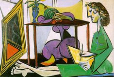 Interior with girl drawing, 1956, Pablo Picasso Medium: oil on canvas