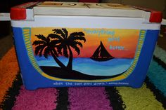 Customized Cooler (Made to Order) - Island Theme - Perfect for Spring Break 2013  www.facebook.com/itsybitsycreations1292