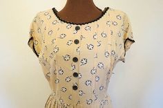 Sweet Vintage 30's 40's Beige Floral Print Day Dress by AdoredAnew