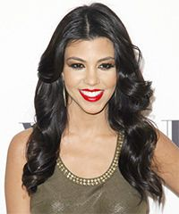 Kourtney Kardashian Hairstyle: Formal Long Wavy Hairstyle