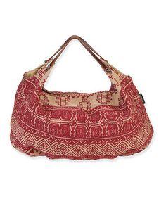 Catori Red & Beige Geometric Hobo Bag by Catori #zulily #zulilyfinds