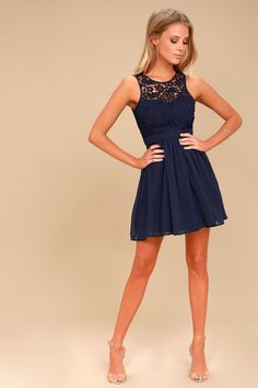 dfd867ee7069 Romantic Tale Navy Blue Lace Skater Dress Navy Blue Skater Dress