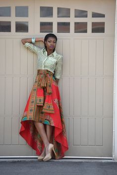 New African print skirt  Red Dashiki  skirt African by RAHYMA
