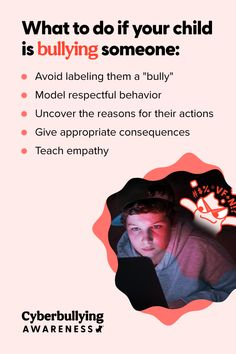 What do you do if *your* child is engaging in bullying behavior? We understand this can be a difficult situation to handle, so we've outlined what to look out for and how you can address these actions. 🧡 #Bullying #Cyberbullying #Parenting #DigitalParenting Cyberbullying Prevention, Talking To You, Parenting Hacks, Your Child, Behavior, Things To Come, Handle, Teaching, Children