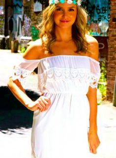 White Off the Shoulder Dress with Crochet Hem Detail,  Dress, off the shoulder  crochet, Casual