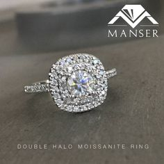 White gold engagement ring with moissanite centre stone and double diamond halo. Moissanite Rings, Halo Diamond, Diamond Engagement Rings, Centre, Diamond Earrings, White Gold, Wedding Rings, Jewels, Stone