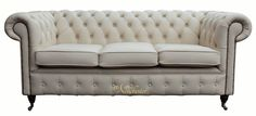 Chesterfield 3 Seater Ivory Leather Sofa Offer