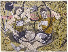 Linocut: Puncture by Michael Kirkman