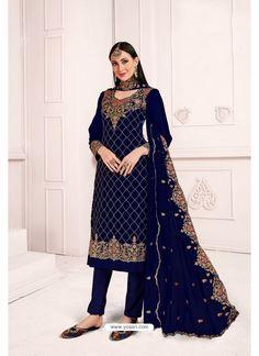 Navy Blue Georgette Party Wear Salwar Suit Costume Marron, Costume Vert, Pakistani Suits, Salwar Suits, Churidar, Indian Dresses, Indian Outfits, Dresses Dresses, Blue Fashion