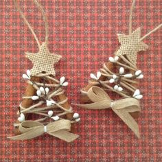 Christmas Tree Ornaments /Cinnamon sticks ornaments/ (set of 2 ) Handmade and Design in cinnamon sticks