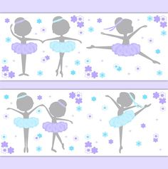 Ballerina Silhouette wallpaper border wall decals in aqua blue, purple, and grey for baby girl ballet nursery or childrens floral dance room decor. Beautiful dainty grey silhouette ballerinas dancing with their aqua blue and lavender purple tutus and matching flowing head bands. Add