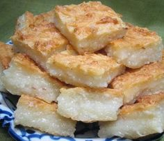 """This Coconut Cake Thai called """"KHANOM BA - BIN"""" This easy, low-fat cake recipe has the texture of angel food with the flavor of coconut. L..."""