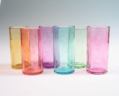 Hand Blown Glassware / Glass Tumblers Set of 6 / Transparent Seaglass Series / Holiday Decor Entertaining