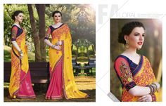 Yellow Embriodered Georgette Decorative Stones Sarees