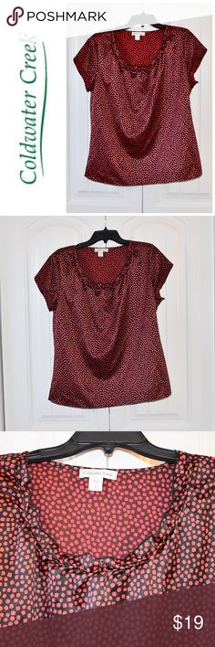 "Coldwater Creek Red Black Blouse Size 14 L Coldwater Creek size L 14 42"" Bust 25"" Long Coldwater Creek Tops Blouses"