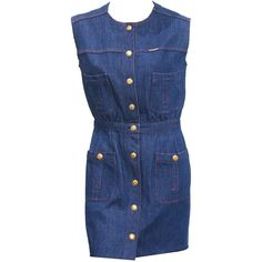 Preowned 1990s Chanel Denim Button Up Mini Dress ($1,143) ❤ liked on Polyvore featuring dresses, chanel, multiple, blue mini dress, blue dress, button dress, short blue dresses and short dresses