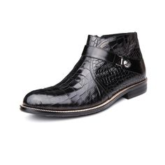 2016 New Arrival Men's Luxury Fashion Brand Design Ankle Boots Casual Crocodile Genuine Leather Point Toe Wedding Shoes for Men alishoppbrasil