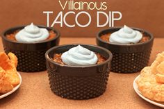 This dip is so good it's naughty. It's so naughty it's the minions next master! Cook the meat ahead of time so you can whip it together just before the movie comes on in order to enjoy while you laugh. Although I don't recommend eating and laughing right at the same time. Taco dip coming out of your nose with chunks of pork rinds scattered here and there sounds about as nice as being poked in the eye by Scarlet Overkill's nose. Ouch.