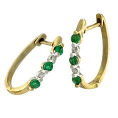 10KY .75ctw Emerald Round Diamond Round Earrings