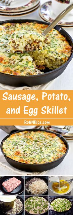 Wake up to this delicious Sausage, Potato, and Egg Skillet topped with shredded cheese and green onions.
