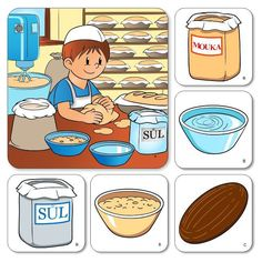 Výroba chleba CZ - Motivačné obrázky, rozvoj reči - Slovenský jazyk - Učebné pomôcky