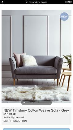 This Occasional Sofa Is Handmade With A Solid Birch And Beech Hardwood  Frame And Is Finished In A Soft Grey Flatweave Cotton ...