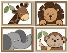 Baby Zoo Jungle Animal Nursery Wall Art by LittlePrintsParties Safari Nursery, Animal Nursery, Nursery Wall Art, Girl Nursery, Baby Zoo, Quilt Baby, Painting For Kids, Art For Kids, Child Draw