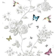 Classic White Kolibri Non Woven Floral Butterfly Kingfisher Bird Rose Wallpaper Rose Wallpaper, Bathroom Wallpaper, Kingfisher Bird, Designer Wallpaper, Wallpaper Designs, Butterfly Print, Paper Background, Textile Prints, Classic White