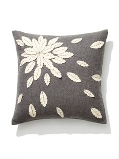 Felt Flower Applique Pillow by Design Accents at Gilt Applique Cushions, Sewing Pillows, Felt Applique, Flower Applique, Diy Pillows, Couch Pillows, Custom Pillows, Decorative Pillows, Throw Pillows