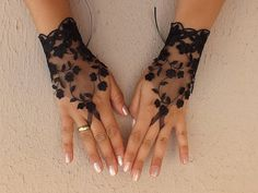Black tulle lace gloves embroidery bridal wedding by WEDDINGHome, $25.00