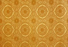 Gold and orange ornate midcentury 60's fabric circle and star pattern woven / embroidered / Stunning!