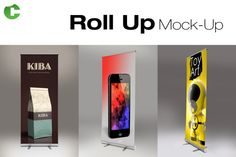 Roll Up Mock-Up Graphics **Roll Up Mock-up**- Place artwork via smart-object- 3 Different Angles - Standards size: by Colatudo Store Business Illustration, Pencil Illustration, Business Card Mock Up, Business Brochure, Free Mockup Templates, Design Templates, Stickers Design, Table Design, Branding