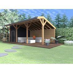 Mooie kapschuur Jumbo met berging. De afmetingen zijn ca 750x330 waarvan de berging 250x330 is. Al het douglashout is fijnbezaagd, maar kan tegen een meerprijs geschaafd geleverd worden. Bouwtekeningen op aanvraag beschikbaar. Backyard Projects, Outdoor Projects, Backyard Patio, Backyard Landscaping, Bbq Shed, Pool Shed, Barbacoa Jardin, Patio Design, House Design