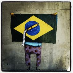 #Flag #Brazil #StreetArt #Question    By:  https://www.facebook.com/pages/Os-Gemeos/207835592677428