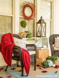 Welcome to Fall! | At Home in Arkansas | October 2015 #Arkansas #porch #fall #autumn #decorate #decorating #DIY #frontdoor
