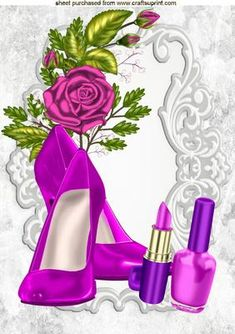 PRETTY CERISE SHOES AND MAKEUP WITH CERISE ROSES A4, Makes a pretty card, lots of other designs and colours to see