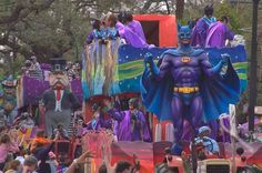 A Mardi Gras float of krewe of Tucks at a parade on Saint Charles Avenue. New Orleans, Louisiana, February 25, 2006